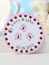 Personalized Favor Tag - Pink Butterfly (Set of 36)