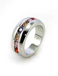 lussuoso cubic zirconia platinato forma rotonda anello di moda