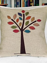 Color Tree Cotton Decorative Pillow Cover