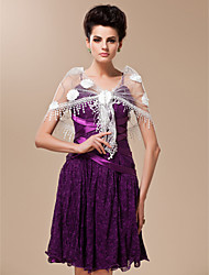 Tulle and Sequined With Flowers Wedding / Special Occasion Shawl (More Colors Available)