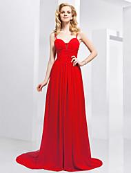 Formal Evening Dress - Ruby Plus Sizes A-line/Princess Spaghetti Straps/Sweetheart Sweep/Brush Train Chiffon