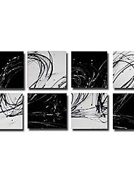 pintado a mano con pintura al óleo abstracta marco estirado - juego de 8