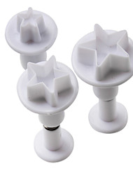 Star Pattern Cake and Cookies Cutter Mold with Plunger (3 Pieces)