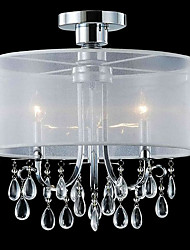 Stylish Crystal Flush Mount with 3 Lights in Fabric Shade