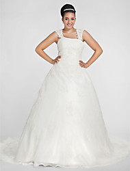 LAN TING BRIDE Ball Gown Wedding Dress - Classic & Timeless Simply Sublime Chapel Train Square Organza with Appliques Beading