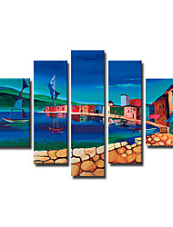 pintado a mano paisaje pintura al óleo con marco estirado - juego de 5