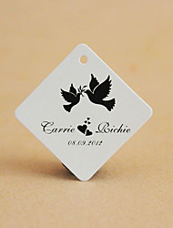Personalized Rhombus Favor Tag - Bird (Set of 30)