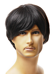 Capless Fashion Men's Short Black Straight Synthetic Hair Wig