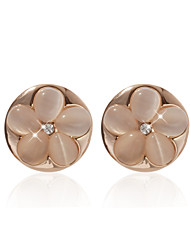 18K Gold Plated Goegeous Onyx With Flower Shape Fashion Earrings