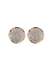 18K Gold Plated Charming Clear Rhinestone With Round Shape Fashion Earrings