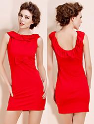 TS Backless Lotus Leaf Collar Sheath Red Dress
