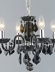 Candle Featured Crystal Chandeliers with 4 Lights in Black