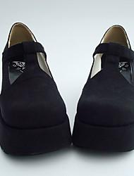 negro pu leahter 8 cm de cuña gothic lolita zapatos