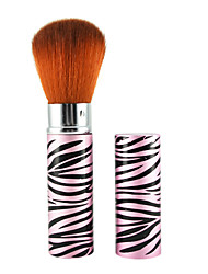 Retractable Cosmetic Face Makeup Brush in Platinum Pink Zebra Pattern Tube