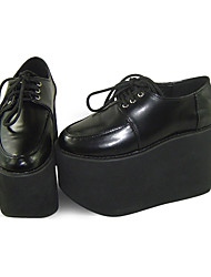 Black PU Leather 11cm Wedge Sweet Lolita Shoes with Shoelace