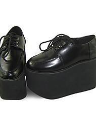 negro cuero de la PU zapatos de cuña 11cm Sweet Lolita con cordones de los zapatos