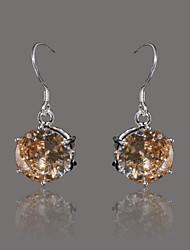 wunderschöne silberne Platte Orange Kristall Ohrringe