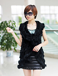 Fur Vest With Fashion Sleeveless Evening/ Career Rabbit Fur Scollop Vest (More Colors)