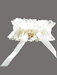 Garter Lace Satin Rhinestone Sweetheart White