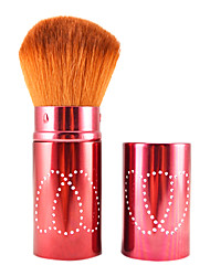 Retractable Cosmetic Face Makeup Brush in Platinum Red Flower Tube