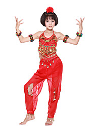 Dancewear Chiffon With Beading/Coins Performance Belly Dance Outfit For Kids More Colors
