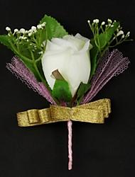 fleurs de mariage satin / coton de forme libre boutonnière pour hommes