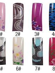 70 Pcs Full Cover Tasteful French Acrylic Nails Tips 8 Colors Available