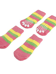 Dog Socks Casual/Daily Keep Warm Winter Spring/Fall Stripe Pink Cotton