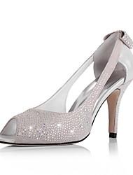 Leder Pfennigabsatz Peep Toe mit Strass / bowknot in der Ferse Mode Schuhe