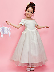 Lanting Bride A-line / Princess Ankle-length Flower Girl Dress - Organza / Satin Short Sleeve Off-the-shoulder withBeading / Sash /