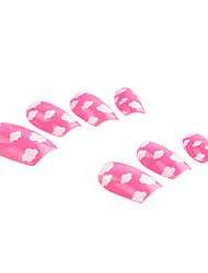 Full Cover Pink Cloud Pattern Plastic Acrylic Nails Tips