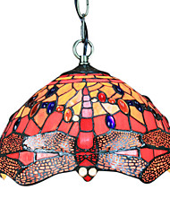 60W Tiffany Pendent Light with 1 Light in Red Dragonfly Pattern