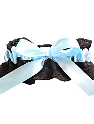 Garter Polyester Lace Bowknot Black