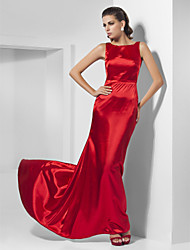 A-Line Princess Bateau Neck Sweep / Brush Train Charmeuse Prom Formal Evening Dress with Pleats by TS Couture®