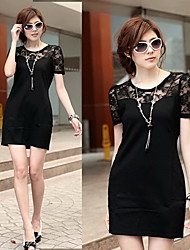 Ladies' Lace Short Sleeves Summer Sheath Dress