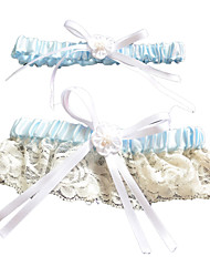 Garter Polyester Lace Bowknot Beige