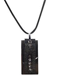 Rectangle Scripture Inscribed Rhinestone Necklace