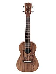 Rainie - (cc-02) ad alta grande solido concerto ukulele acacia koa con gig bag / sintonizzatore (caffè tatoo)