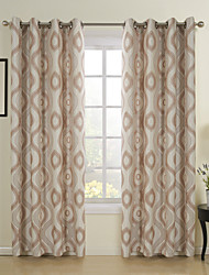 One panel Casual Khaki Jacqaurd Energy Saving Curtain Drape