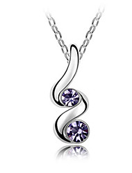 Alloy and Crystal Attractive Design Platinum Plated Necklace (buy 1 get 2 free gifts)