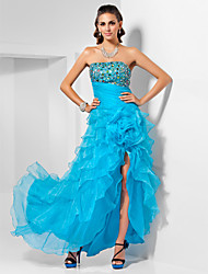 A-line Strapless Asymmetrical Organza Evening/Prom Dress