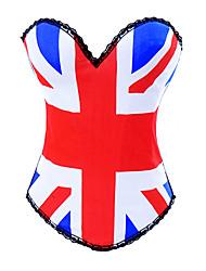 algodão / poliéster com corsets fechamento busk rendas / impressão strapless shapewear volta sexy lingerie shaper