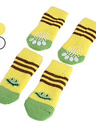 Dog Socks Casual/Daily Keep Warm Winter Spring/Fall Cartoon Yellow White Cotton