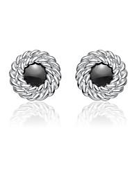 Charme Sterling Silver Boucles d'oreilles noires Cubic Zirconia Stud