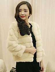 Long Sleeve Collarless Casual Faux Fur Jacket
