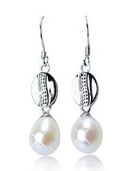 Schöne Sterling Silber Fresh Pearl Drop Earrings