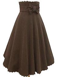 Té de longitud Brown falda de algodón Casual Lolita