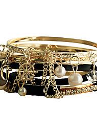 Cuir noir bracelet en alliage de Pearl (7 Pcs)