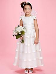 a-line Juwel knöchellangen Organza über Satin Blumenmädchen Kleid