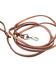 trela do cão de couro genuíno (150 centímetros / 59inch, marrom)